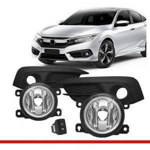 Kit Farol Milha Civic 2017 c/ Interruptor Original