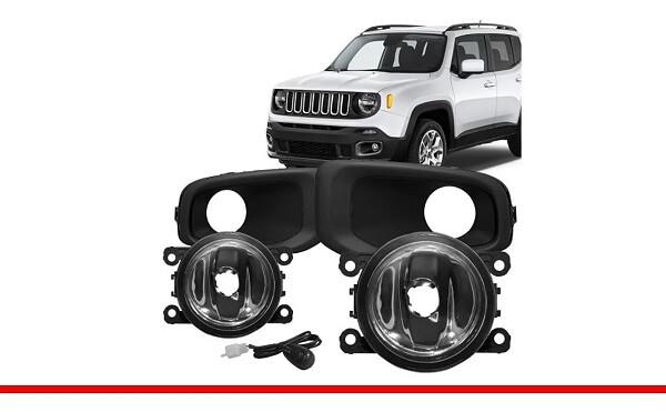 Kit Farol Milha Jeep Renegade 2016 c/ Interruptor Universal